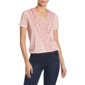 Lucky Brand Red Deco Geo Print Surplice Neck Top